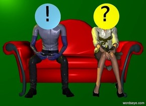 """a green backdrop.a 100 inch tall  80% dim red couch.a 100 inch tall blue man is -95 inch above the couch.the man is -30 inch in front of the couch.the man is -83 inch left of the couch.a 100 inch tall yellow woman is 20 inch right of the man.sun is yellow.a 1st 26 inch tall flat sky blue sphere is in front of the man.the 1st sphere is -27 inch above the man.a 2nd 26 inch tall flat yellow sphere is 33 inch right of the 1st sphere.a 15 inch tall black """"!"""" is in front of the 1st sphere.the """"!"""" is -18 inch above the 1st sphere.a 15 inch tall black """"?"""" is 53 inch right of the """"!""""."""