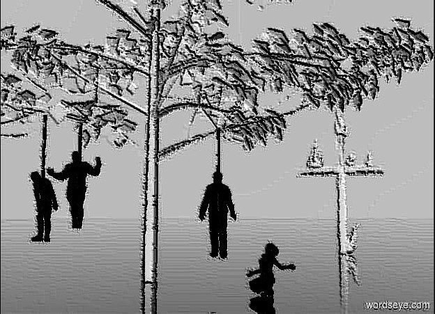 Input text: a white black poplar tree. 1st black man is 4 feet right of and -1 feet in front of and -48 feet above the tree.  a 4 feet tall and 1 inch wide black tube is -.7 feet above the man. 2nd black man is 3 feet left of and -2 feet in front of and -46  feet above the tree. a 3 feet tall and 1 inch wide black tube is -.6 feet above the 2nd man. a black mannequin is 7 feet left of and -47 feet above and -1 feet in front of the tree. a 5.4 feet tall and 1 inch wide black tube is -.7 feet above the mannequin. a black teenager is 2 feet in front of and 7 feet right of the tree. she faces the 1st man. a 16 feet tall white cross is 33 feet behind and 8 feet right of the tree. 1st huge white flame is -.4 feet above the cross. it leans 10 degrees to the right. 2nd large white flame is -2 feet right of and -4.5 feet above the cross. 3rd huge white flame is -3 feet left of and -4.5 feet above the cross. 4th huge white flame is -16 feet above and -5.5 feet right of the cross. it leans left. 5th large white flame is -4.8 feet right of and -4.4 feet above the cross. it leans left. sky is white . ground is clear.