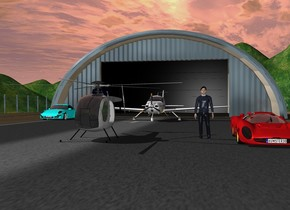 The airport runway with the black door. A helicopter is on the runway. The Ferrari is 5 feet to the right of the helicopter. The man is 2 feet to the left  of the Ferrari. The airplane  is 25 feet behind the helicopter. The  sun is darker. The cyan porsche is 5 feet to the left of the airplane and 10 feet forward.