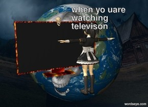 The scene backdrop. The television is on the ground. The girl is 4 feet in front of the television. The girl is tan. The girl is unreflective. The girl is facing the television. The television is 5 feet tall. The skull is in the television. The television has a fire texture.