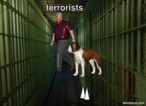 The dog is 1 foot above the spikes  .  The man is 1 foot left of the dog .  The prison backdrop.  The prison backdrop.