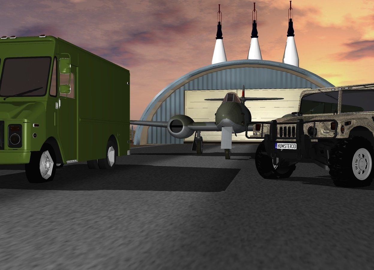 The jet is on the runway. The hummer h1 is -20 feet to the right of the jet and 10 feet in front of the jet. The hummer h1 is camouflage. The hummer h1 faces southwest. A truck is 10 feet to the left of the hummer h1 The truck is insect green. There is a first 80 foot tall atlas rocket 30 feet behind the runway. A second 80 foot tall atlas rocket is 3 feet to the right of the first atlas rocket. A third 80 foot tall atlas rocket is 3 feet to the left of the first atlas rocket.
