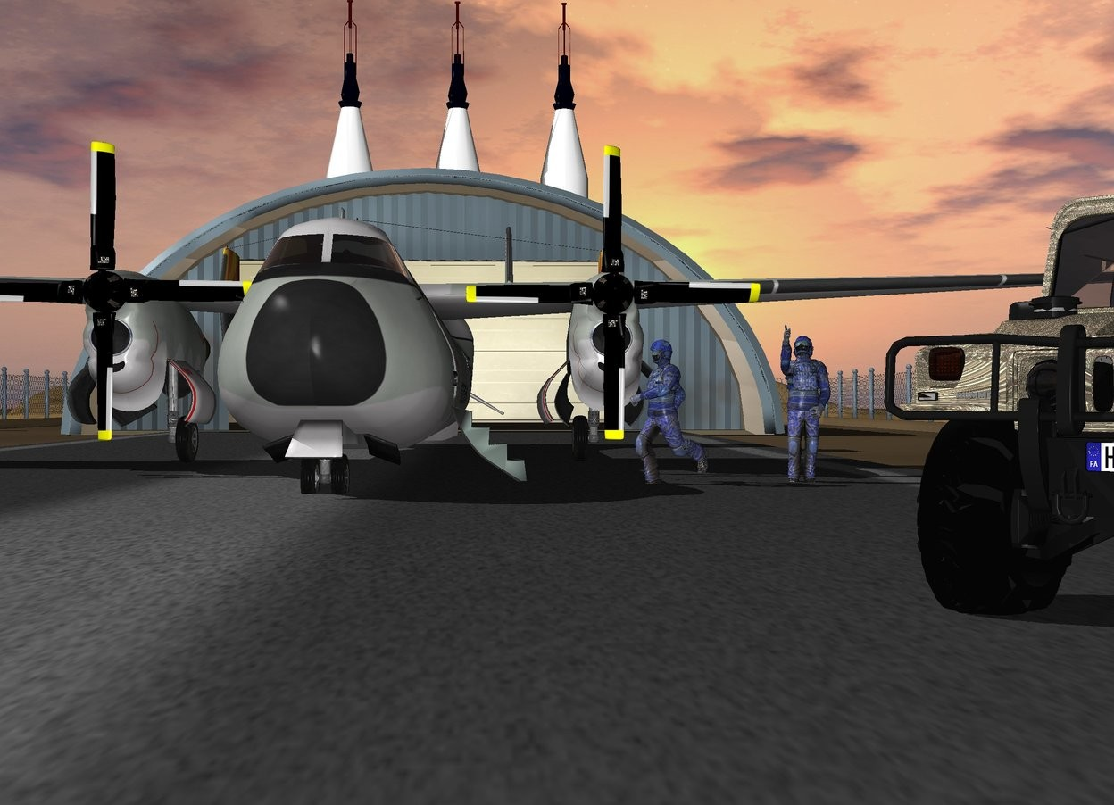 Input text: The warplane is on the runway. The hummer h1 is -30 feet to the right of the warplane and 10 feet in front of the warplane The hummer h1 is camouflage. The hummer h1 faces southwest. There is a first 80 foot tall atlas rocket 30 feet behind the runway. A second 80 foot tall atlas rocket is 3 feet to the right of the first atlas rocket. A third 80 foot tall atlas rocket is 3 feet to the left of the first atlas rocket. A man is -30 feet to the right of the warplane and -10 feet in front of the warplane. The man faces the southwest. A second man is 2 feet to the right of the man.