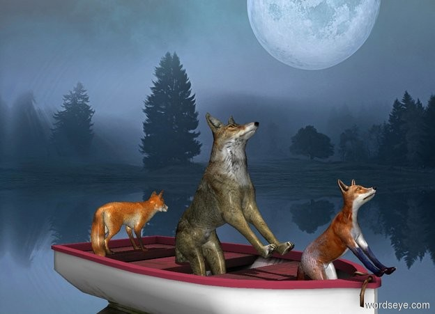 Input text: sky is [moon]. A fox is -1.5 feet above and -2.5 feet in front of the boat. He leans 45 degrees to the back. A wolf is -1.45 feet behind him and -1.7 feet above the boat. He leans 45 degrees to the back. A fox is .5 feet behind him and -.5 feet above the boat. He faces east.  Ground is silver. It is noon.