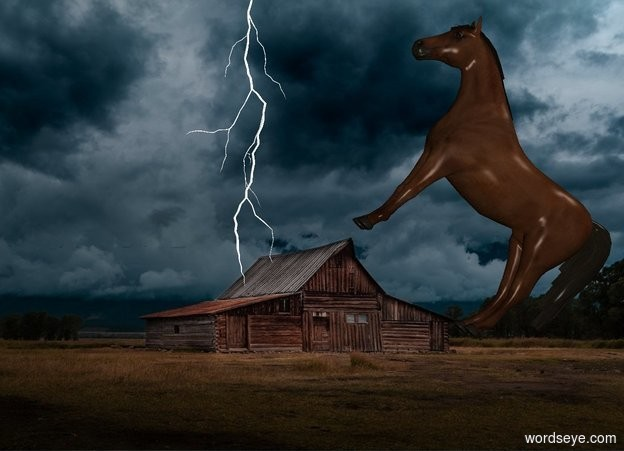 Input text: [barn] backdrop. Sky is [barn]. The 100 foot tall shiny white lightning is -25 feet above the 50% dark horse and 200 feet south of him. He leans 45 degrees to the back. He is 3 feet above the ground. He faces east.