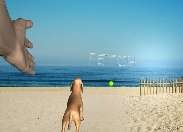 """Input text: backdrop. sky is white. a dull hand. an invisible drop is 5 feet in front of and 1 foot right of the hand. the hand faces the drop.shadow plane is invisible. a dog is -10 feet above the hand. it leans 55 degrees to the front. a big lawn green tennis ball is -20 feet above and 3 feet in front of and 2 feet left of the dog.  a clear """"FETCH"""" is 2 feet in front of the ball. it faces back. it leans 90 degrees to the back."""