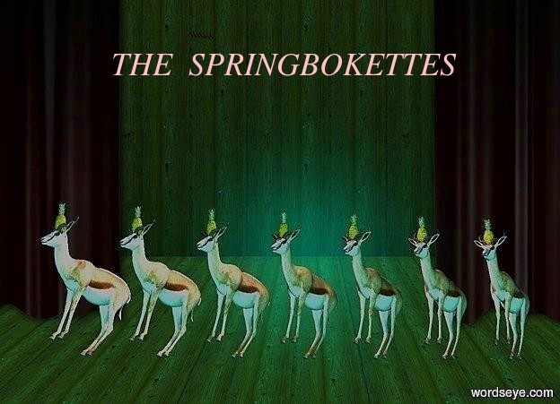 Input text: 1st springbok leans back. it faces southwest. 2nd springbok is -2 feet right of the 1st springbok. it faces southwest. it leans back. 3rd springbok is -2 feet right of the second springbok. it faces southwest. it leans back.  4th springbok is -2 feet left of the 1st springbok. it faces southwest. it leans back. 5th springbok is -2 feet left of the 4th springbok. it faces southwest. it leans back.  6th springbok is -2 feet right of the 3rd springbok. it faces southwest. it leans back. 7th springbok is -2 feet left of the 5th springbok. it faces southwest. it leans back. 1st pineapple is -.8 feet above and -1.7 feet in front of and -1.7 feet left of the 1st springbok. 2nd pineapple is -.8 feet above and -1.7 feet left of and -1.7 feet in front of the 2nd springbok. 3rd pineapple is -.8 feet above and  -1.7 feet left of and -1.7  feet in front of the 4th springbok. 4th pineapple is -.8 feet above and -1.7 feet left of and -1.7 feet in front of the 3rd springbok. 5th pineapple is -.8 feet above and -1.7 feet in front of and -1.7 feet left of the 5th springbok. 6th pineapple is -.8 feet above and -1.7 feet in front of and -1.7 feet left of the 6th springbok. 7th pineapple is -.8 feet above and -1.7 feet in front of and -1.7 feet left of the 7th springbok. sun's azimuth is 180 degrees. sun's altitude is -30 degrees. sun is aqua. a powder blue light is 4 feet above the 1st springbok.   3 litchee mauve lights are 3 feet above the 1st springbok.