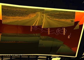 a shiny car. a marble is -7 feet behind and -2 feet above the car. the sky is sunset. a lemon light is 2 inch above the marble. it is noon. a shiny postfence is 15 feet in front of and 2 feet left of the car. it faces southwest. a antique gold light is left of the postfence. sun is grapefruit yellow. a igloo blue light is 5 feet northwest of the postfence. ambient light is tangerine