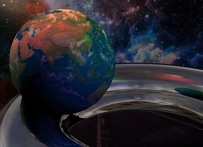 the fantasy backdrop. the silver torus is leaning 90 degrees to the back. the earth is -1 inch above and -4.7 inches to the left of the torus. it is 4 inches tall. the red light is 6 inches above the earth. the green light is 2 inches to the right of the red light. the mauve light is 4 inches to the right and in front of the earth.   the camera light is black. the ambient light is black.