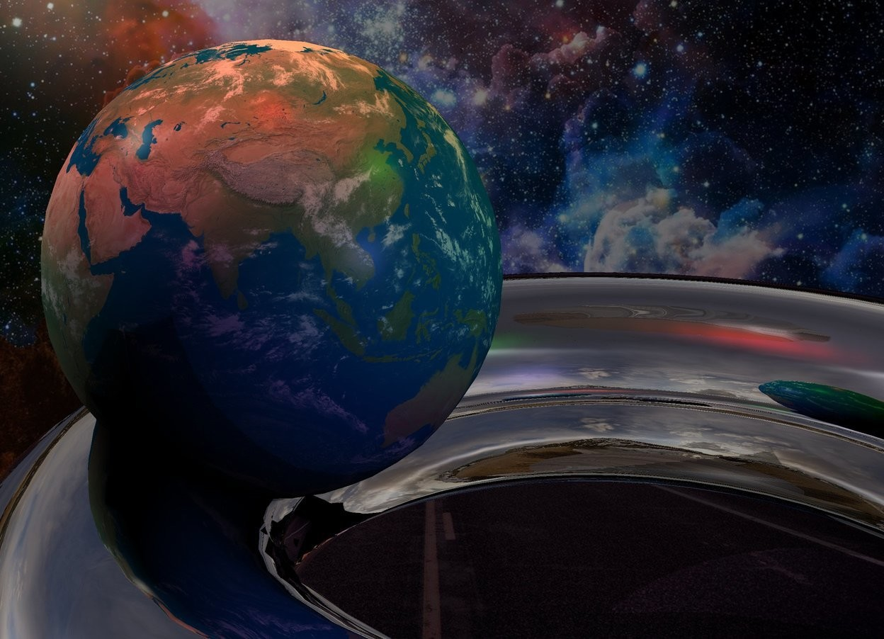 Input text: the fantasy backdrop. the silver torus is leaning 90 degrees to the back. the earth is -1 inch above and -4.7 inches to the left of the torus. it is 4 inches tall. the red light is 6 inches above the earth. the green light is 2 inches to the right of the red light. the mauve light is 4 inches to the right and in front of the earth.   the camera light is black. the ambient light is black.