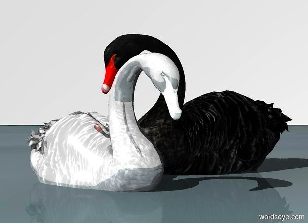 Input text: a 1st 82 inch tall  shiny white swan is -30 inch above the ground..sky is white.ground is lake.a 2nd 100 inch tall  black swan is -22 inch right of the 1st swan.the 2nd swan is facing west.camera light is gray.