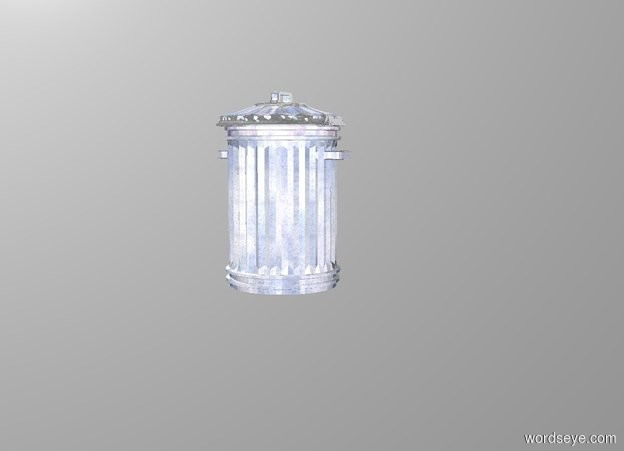 Input text: a shiny [metal] trash can. backdrop is white ground is invisible.