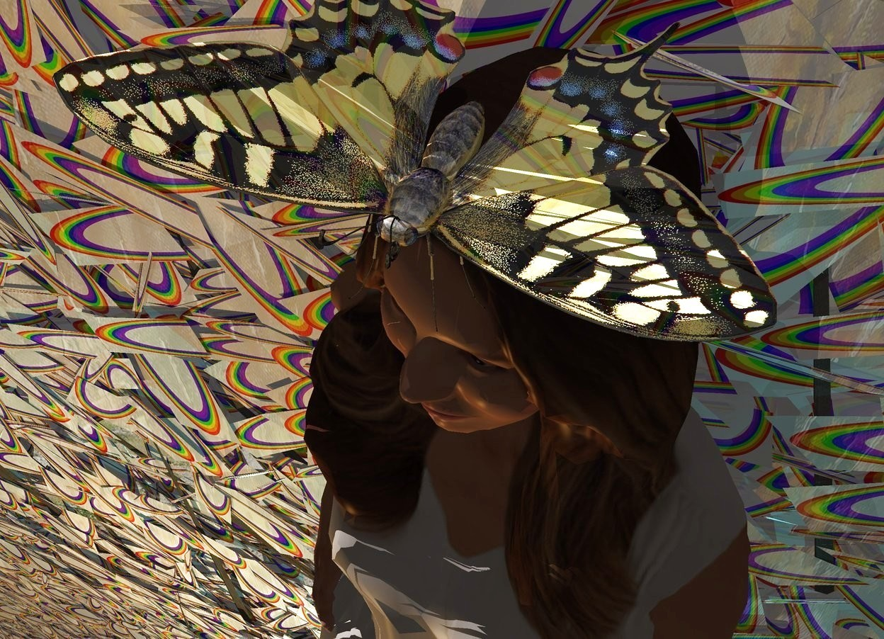 Input text: A [rainbow] tree is flat and 20% shiny. A large 20% shiny butterfly is in front of and -5 feet above the tree. A woman is -5.8 feet above the butterfly. She is leaning 8 degrees to the back. Camera light is black. An amber light is left of and in front of the woman. A cyan light is right of the woman. A dim light is above the butterfly. The sun is silver.