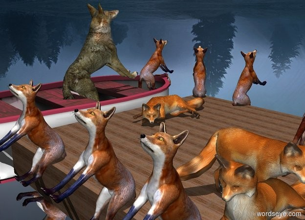 Input text: sky is [moon]. The boat is -.75 feet above the ground. A fox is -1.5 feet above and -2.5 feet in front of the boat. He leans 45 degrees to the back. A wolf is -1.45 feet behind him and -1.7 feet above the boat. He leans 45 degrees to the back.  Ground is silver. It is noon.  a 20 feet tall and 7.5 feet wide wood plank faces west. it leans 90 degrees to the back. It is west of the boat. It is -.5 feet above the ground.  2nd fox is -1.3 feet above and -1.3 feet in front of the plank. He is -1.3 feet east of the plank. He faces southeast. He leans 60 degrees to back.   3rd fox is -1.3 feet above and -1.3 feet behind the plank. He is -2.3 feet east of the plank. He faces north. He leans 60 degrees to back.  4th fox is -1.3 feet above and -1.3 feet in front of the plank. He is -2.3 feet east of the plank. He faces south. He leans 60 degrees to back.  5th fox is 2 foot west of 3rd fox. He faces north. He leans 60 degrees to back.  6th fox is 1 foot west of him. He faces north. He leans 60 degrees to back.  7th fox is -.25 foot south of him. He is 0 feet above the plank. He faces west.   8th fox is 0 foot north of 2nd fox and 1 foot west of the boat. He is 0 feet above the plank. He faces north.  9th fox is 3.5 foot west of him. 10th fox is 0 foot west of him and 0 foot north of him. He faces north.