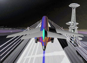 a  1000 inch tall and 500 inch wide and 8000 inch deep [concrete] bridge is on the ground.a  airport backdrop.ground is invisible.a 1700 inch tall shiny tower is 500 inch right of the bridge.a 200 inch tall  shiny plane is on the bridge.the plane is facing north.the plane is -900 inch in front of the bridge.the plane leans 15 degrees to back.