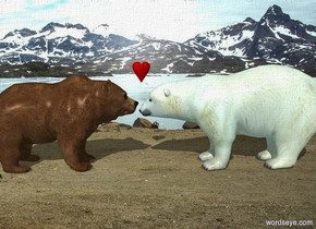 a grizzly bear. a 5 foot tall polar bear is in front of the grizzly bear. it faces back. a small heart is -.4 feet above and -.3 feet in front of the grizzly bear. it faces right. ambient light is sea mist blue. camera light is black.