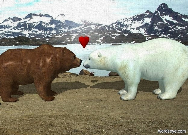 Input text: a grizzly bear. a 5 foot tall polar bear is in front of the grizzly bear. it faces back. a small heart is -.4 feet above and -.3 feet in front of the grizzly bear. it faces right. ambient light is sea mist blue. camera light is black.