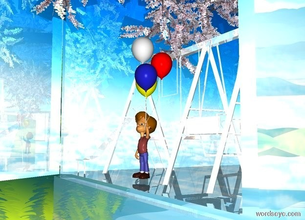 Input text: a small shiny white group. a huge shiny [sky] item is -7.5 feet behind and -3.7 feet above the group. a small shiny upside down tree is -6 feet above the item. a small child is -1 foot in front of the group. ground is silver.