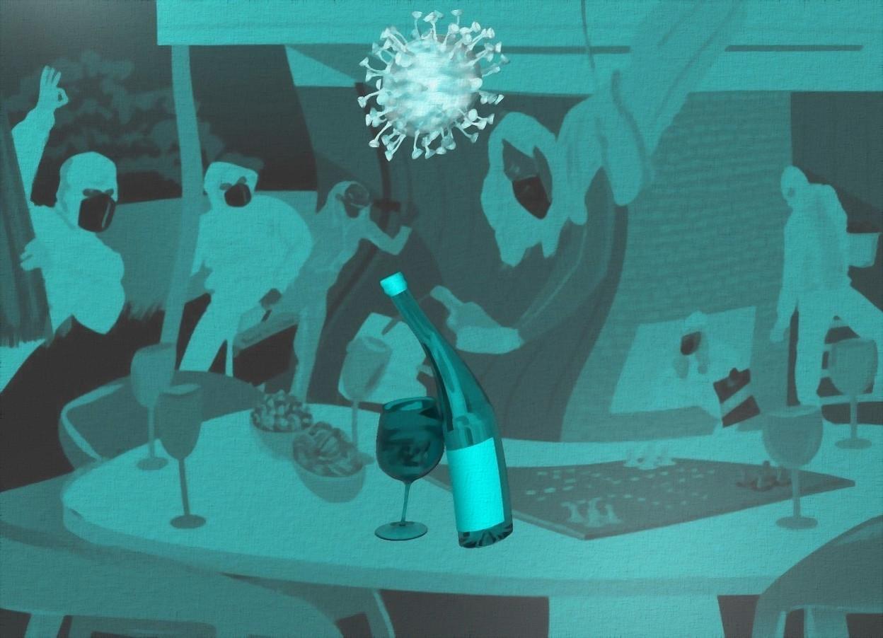 Input text: a shiny [br] backdrop.sky is gray.a 6 inch tall cyan wine bottle.a 3 inch tall cyan wine glass is -1 inch left of the wine bottle.the wine bottle leans 15 degrees to right.a 3 inch tall shiny cyan covid19 is 2 inch above the wine bottle.