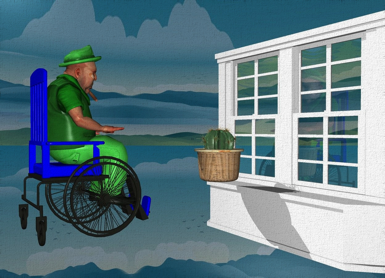 Input text: backdrop is shiny petrol blue.a 60 inch tall blue wheelchair.the wheelchair is facing northeast.a 60 inch tall green boss is -50 inch above the wheelchair.the boss is facing northeast.a 70 inch tall and 90 inch wide white window is 5 inch right of the wheelchair.the window is facing southwest.sky is 3000 feet tall.a 20 inch tall cactus is -50 inch above the window.the cactus is -25 inch left of the window.