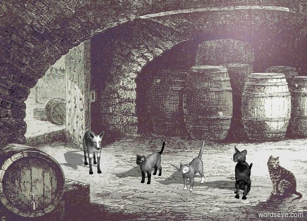 Input text: [cellar] backdrop. sky is [cellar]. A fox is -.2 feet above the ground. He faces northwest. A gray cat is 1 feet west of him. He faces north. 2nd gray cat is 1 feet west of him. He faces north. 3rd gray cat is 1 feet west of him. He faces north.  The foxes are  gray.
