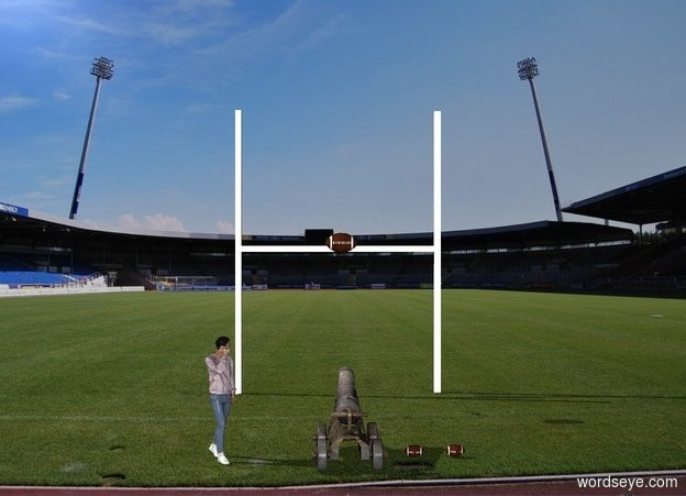 Input text: The cannon is 15 feet in front of the goal. The cannon is facing the goal. The cannon and goal are in the stadium. The large football is 7 feet in front of the goal and 10 feet above the ground.  A second football is 1 feet to the right of the cannon. the third football is 1 foot to the right of the second football.A man is 3 feet to the left of the cannon. The man is facing southeast.