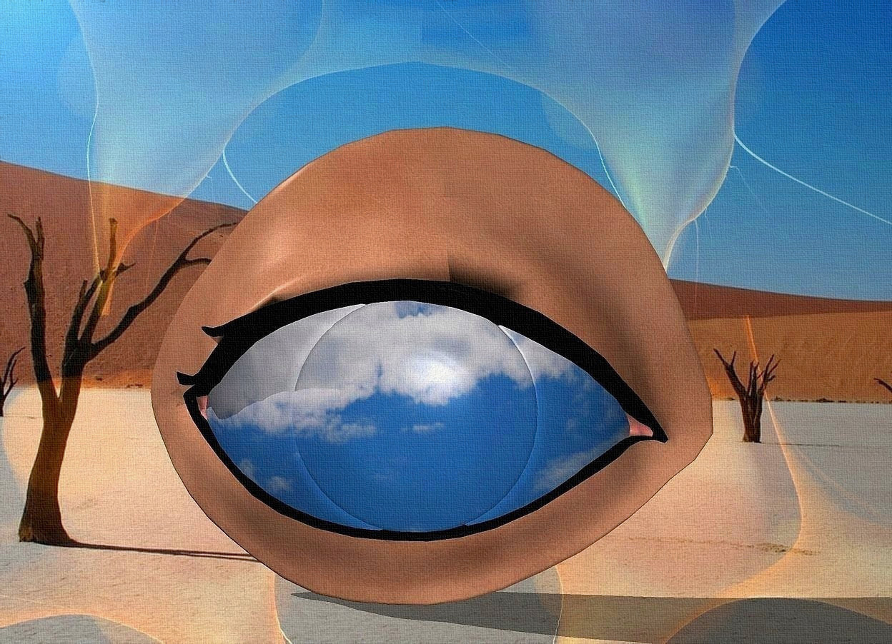Input text: a 100 inch tall  eye.the iris of the eye is 90% dim [cloud].backdrop is shiny.sky is 80% dim [kawe22].sky is 2000 feet tall and 2500 feet wide.