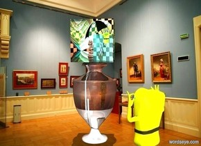 [Ode] on a [Greek] urn.  a peach puff light is 4 feet in front of and 4 feet right of the urn. a small yellow cartoon is in front of and right of the urn. it faces the urn. it leans 5 degrees to the back. backdrop is museum. sun is lemon chiffon. it is noon.