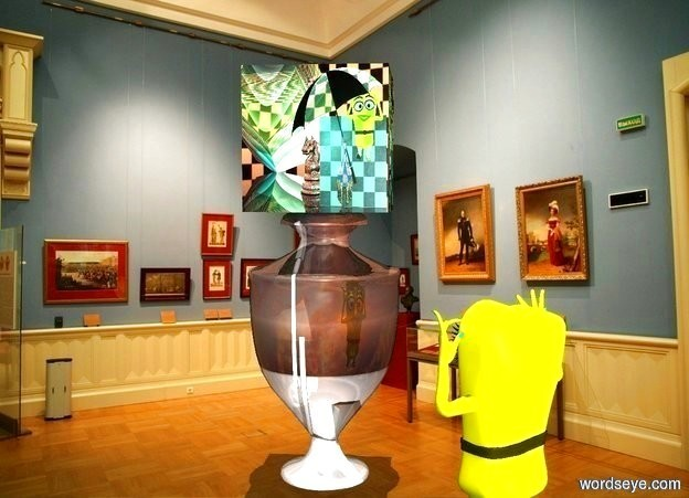 Input text: [Ode] on a [Greek] urn.  a peach puff light is 4 feet in front of and 4 feet right of the urn. a small yellow cartoon is in front of and right of the urn. it faces the urn. it leans 5 degrees to the back. backdrop is museum. sun is lemon chiffon. it is noon.