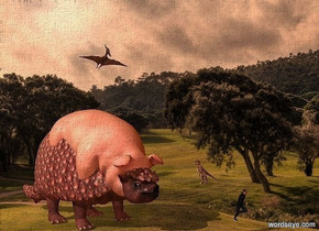 a 10 feet tall wild rose dinosaur. a 8 feet tall and 12 feet long and 7.5 feet wide pig is -9 feet above and -13.8 feet in front of  the dinosaur. it leans 15 degrees to the front. a small [texture] velociraptor is -9 feet above and 7.5 feet right of and -5 feet in front of the pig. it faces left. a pteranodon is 3 feet above the pig. a small man is 4 feet in front of and 1 feet right of the pig. ambient light is old gold. camera light is 80% granite gray