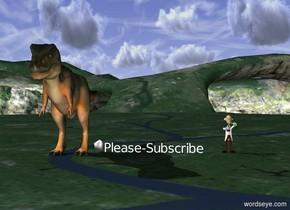 The Please-Subscribe is on the ground.  The t-rex is on the ground.  The scientist is 3 feet to the right of Please-Subscribe  The icosahedron is on the ground.