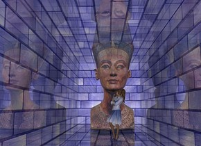a   2 feet tall and 2 feet deep   shiny blue [brick] wall..sky is black.camera light is 50% dim linen.backdrop is shiny red.a 1st 10 inch tall shiny  woman is -2 feet above the wall.a 2nd 30 inch tall shiny woman is 10 inch left of the 1st woman.the 2nd woman is facing east.the 1st woman is -15 inch in front of the wall.