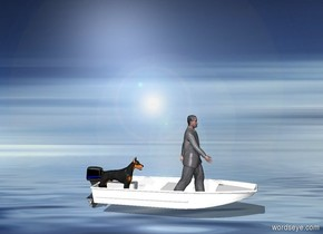 The skiff is on the ocean. The dog is in the boat. The man is two feet in front of the dog.