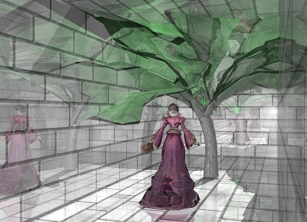 Input text: a   2 feet tall and 2 feet deep    shiny gray [brick] wall..sky is blue.camera light is 70% dim gray.backdrop is shiny red.a  12 inch tall  shiny  woman is -2 feet above the wall.a  30 inch tall silver tree is 12 inch left of the  woman.the  woman is facing west.the woman is -15 inch in front of the wall.the tree trunk of the tree is shiny gray.a 45 inch tall tall shiny green cabbage is -22 inch above the tree.