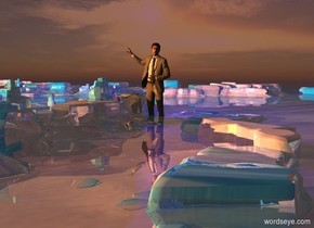 3D ground. Ground is shiny sea. A 200 foot tall man is -40 feet above the ground. Camera light is black. Sun is brown. 2 amber lights are 1000 feet left of and above and in front of the man. A navy light is right of and above the man. Sky is facing northeast.