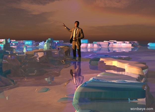 Input text: 3D ground. Ground is shiny sea. A 200 foot tall man is -40 feet above the ground. Camera light is black. Sun is brown. 2 amber lights are 1000 feet left of and above and in front of the man. A navy light is right of and above the man. Sky is facing northeast.