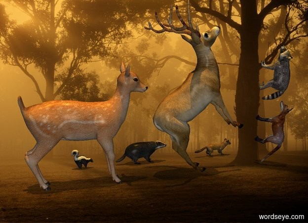Input text: sun is orange. Camera light is gray. Sun's azimuth is 180 degrees. Sun's altitude is 90 degrees. [park] backdrop. sky is [park].  2nd deer is 0 feet above ground. 1st deer is -2 feet west of him. She faces east. A skunk is 1 feet behind him. He faces east. A badger is 1 foot east of him. He faces east. A marten is 1.5 foot east of him. He faces east.  2nd deer leans 45 degrees to back. He faces east.A fox is -.5 feet east of him. He faces northwest. He leans 90 degrees to the back. A raccoon is 0 feet above him. He faces northwest. He leans 90 degrees to the back.
