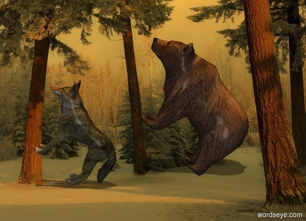 Input text: sun is orange. Camera light is gray. Sun's azimuth is 180 degrees. Sun's altitude is 90 degrees. [park] backdrop. sky is [park].  2nd wolf is -.5 feet above ground.   2nd wolf leans 45 degrees to back. He faces east. A bear is -1.75 foot west of him and 1 foot south of him. He faces east. He leans 45 degrees to the back.