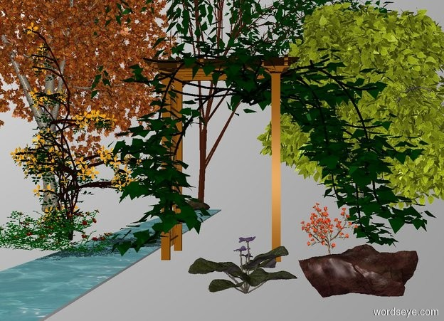 Input text: THE WHITE BACKDROP. THE GROUND IS INVISIBLE. a arbor.a stream is left of the arbor.a plant is -110 inches right of the arbor.the plant is 11 feet tall.a tree is 8 feet behind the arbor.the tree is -30 feet left of the arbor.a rock is -2 feet left of the tree.a creeping rose is 2 feet left of the arbor. a clematis is behind the creeping rose.a cholla is right of the arbor.a red oak is 2 feet left of the tree.a second rock is 7 feet in front of the cholla. a 2 feet tall african violet is left of the rock. a catalpa is 10 feet right of the tree.