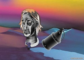 a gray man head.the ornament of the head is shiny blue.a gray bottle is right of the head.the bottle leans 50 degrees to west.the head of hair of the head is shiny black.