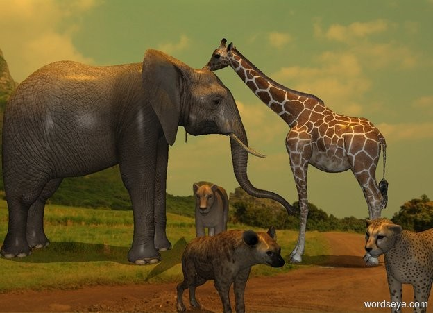 Input text: sun is orange. Camera light is gray. Sun's azimuth is 255 degrees. Sun's altitude is 90 degrees. [cliff] backdrop. [cliff] sky.  An elephant is 0 feet above the ground. A small giraffe is -3.8 feet south of him. He faces north. A cheetah is -2.5 foot south of him and 4 foot west of him. He faces northwest. A hyena is 1 foot north of him. He faces southwest. A lion is -1 foot north of him and 3 feet east of him. He faces west.