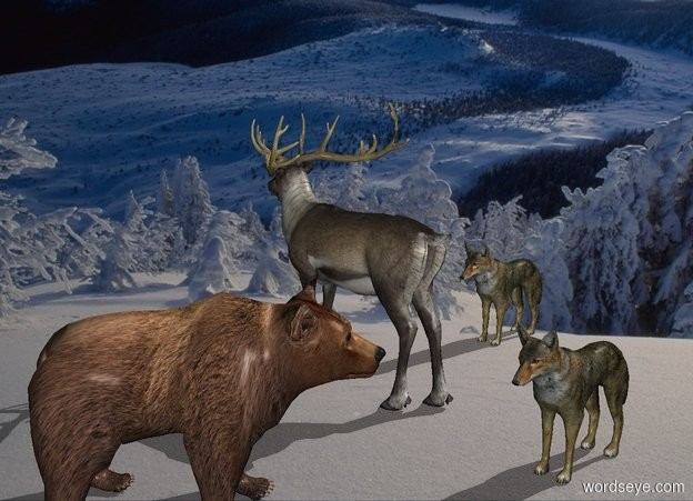 Input text: [snow] backdrop. A reindeer is on the ground. A brown bear is -.5 foot east of the reindeer and -2 foot north of him. He faces northwest. 1st wolf is 4 feet north of the reindeer. He faces east. 2nd wolf is 1 feet west of the reindeer. He faces east.