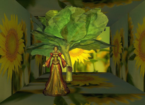 a   2 feet tall and 2.8 feet deep      [flower] wall..sky is yellow.camera light is 70% dim gray.backdrop is shiny red.a  12 inch tall  shiny  woman is -2 feet above the wall.a  30 inch tall silver tree is 12 inch left of the  woman.the  woman is facing east.the woman is -15 inch in front of the wall.the tree trunk of the tree is shiny gray.a 24 inch tall tall shiny green cabbage is -22 inch above the tree.camera light is 80% dim yellow.
