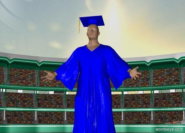 Input text: a graduate is -35 feet above a stadium.