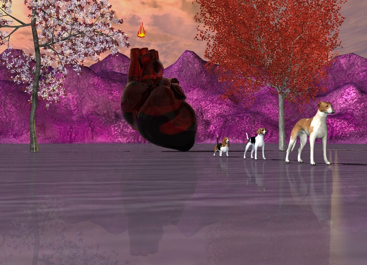 Input text: purple ground. the sky. 9 foot wide copper glass internal organ is on the ground behind the hounds. the hound is 27 foot south of the internal organ. the 2nd hound 3 foot behind the hound. the 3rd hound is 3 foot behind the hound.bronze green lights are above the ground. big plum tree next to the internal organ. red maple tree on the right side of internal organ. big flame is 1 foot above the internal organ. the big flame is -3 foot left of the internal organ.
