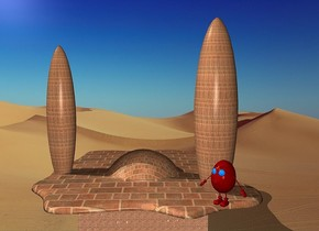 a 1st 100 inch tall brick egg.the egg white of the 1st egg is 300 inch tall  [brick].a 2nd 500 inch tall and 100 inch wide and 100 inch deep [brick] egg is -140 inch above the 1st egg.the 2nd egg is -120 inch left of the 1st egg.a 100 inch tall and 400 inch wide and 400 inch deep [brick] shiny  cube is -250 inch above the 1st egg.a 3rd 570 inch tall and 130 inch wide and 130 inch deep [brick]  egg is 390 inch right of the 2nd egg.the 3rd egg is 90 inch in front of the 2nd egg.a 4th 120 inch tall  egg is in front of the 3rd egg.the 4th egg is -510 inch above the 3rd egg.the 4th egg is facing southwest.the body of the 4th egg is maroon.