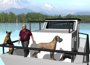 Camera light is gray. Sun's azimuth is 0 degrees. Sun's altitude is 45 degrees. [mountains] sky. ground is shiny [mountains].  2nd dog is -3.5 foot east of the boat. He is -3 feet behind the boat.  He is -7.35 feet above the boat.  2nd dog leans 45 degrees to back. He faces east. A man is west of him. He faces north. 1st dog is west of him. He faces west. 3rd dog is -.5 feet west of him.  He faces west.   A feather is -2.45 feet east of 2nd dog. It leans 60 degrees to front. It faces west. 2nd dog is -2.25 feet above feather.
