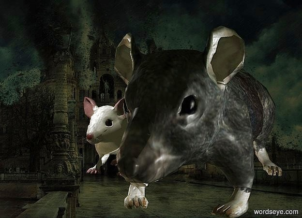 Input text: Mouse. Rat.  an extremely tiny light is above and in front of them.  an extremely tiny tray light is right of and -.2 feet in front of the rat.   It is evening.  camera light is black.  shadow plane is invisible.