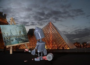 a 30% shiny robot is 30 inch in front of an easel.backdrop is [paris].the robot is facing the easel.