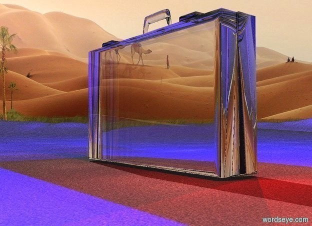 Input text:  a 100 inch tall clear  suitcase.six  blue lights are -5 inch above the suitcase.ground is 20 inch wide [asphalt].six maroon lights are -10 inch right of the suitcase.the maroon lights are -50 inch above the suitcase.